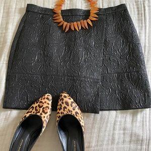 Black J.Crew Paisley Textured Mini Skirt